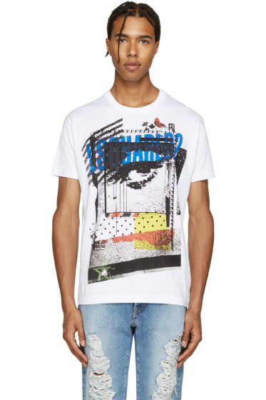 Dsquared2 - White Logo & Pictures Chic Dan T-Shirt