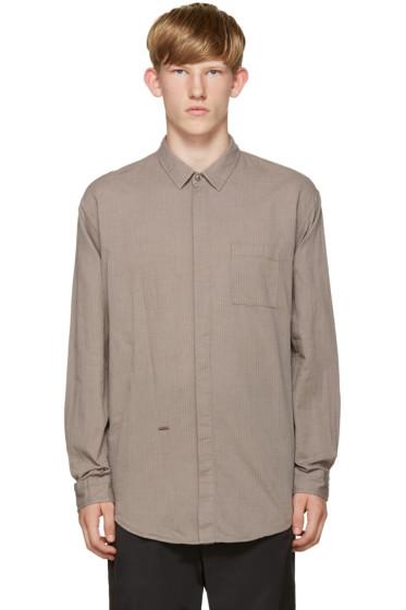 Robert Geller - Grey Shadow Strip Shirt