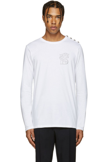 Balmain - White Embroidered 'B' T-Shirt