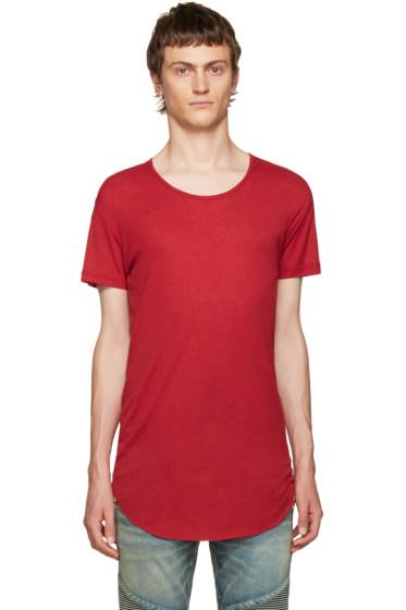 Balmain - Red Ribbed T-Shirt