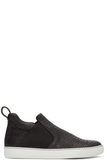 Lanvin - Black Python-Embossed High-Top Sneakers