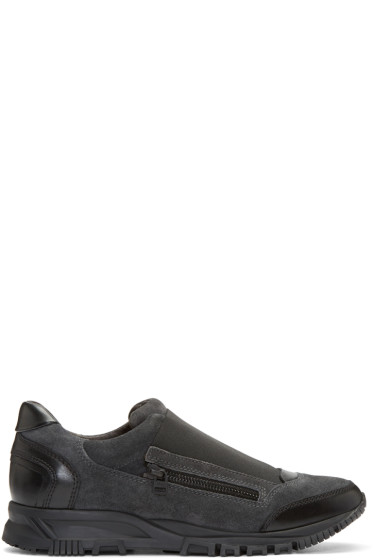 Lanvin - Grey Suede Slip-On Sneakers
