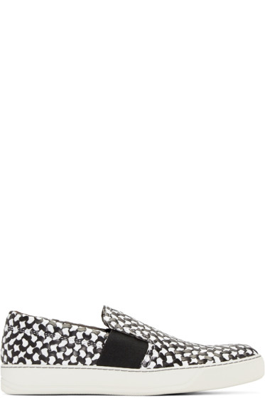 Lanvin - Black & White Woven Slip-On Sneakers