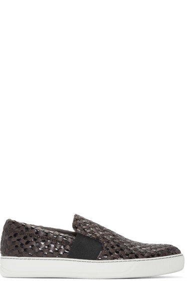 Lanvin - Brown Woven Slip-On Sneakers