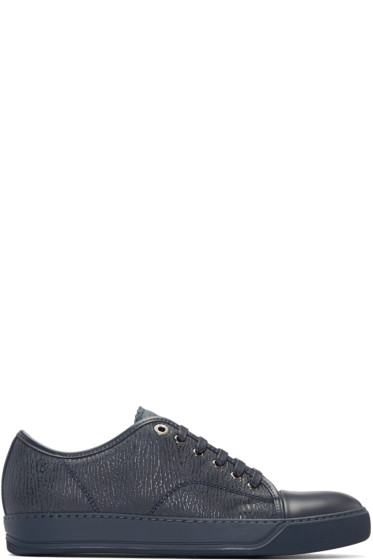 Lanvin - Navy Textured Leather Sneakers
