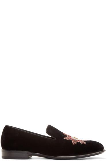 Alexander McQueen - Black Velvet Badge Loafers