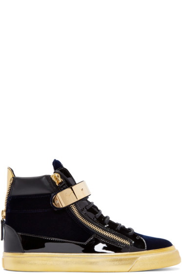 Giuseppe Zanotti - Navy Velvet London High-Top Sneakers