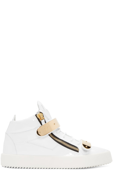 Giuseppe Zanotti - White Patent Leather London High-Top Sneakers