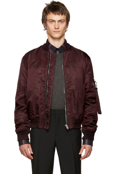 Givenchy - Burgundy Nylon Bomber Jacket
