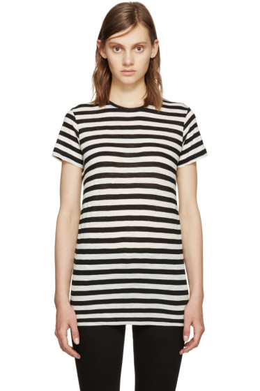 Proenza Schouler - Black & Ecru Striped T-Shirt