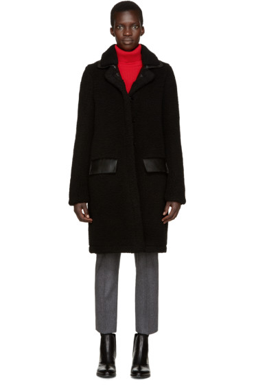 Carven - Black Faux Shearling Coat