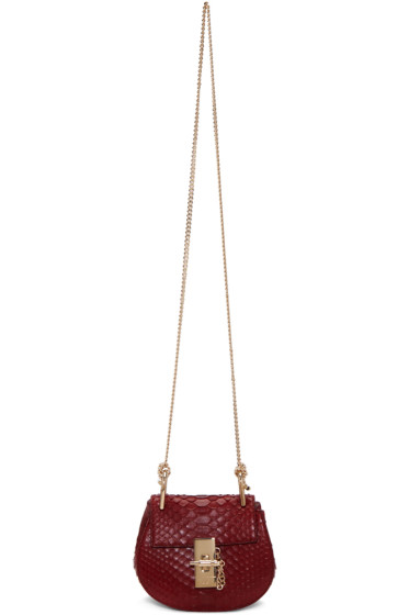 Chloé - Red Python Nano Drew Saddle Bag