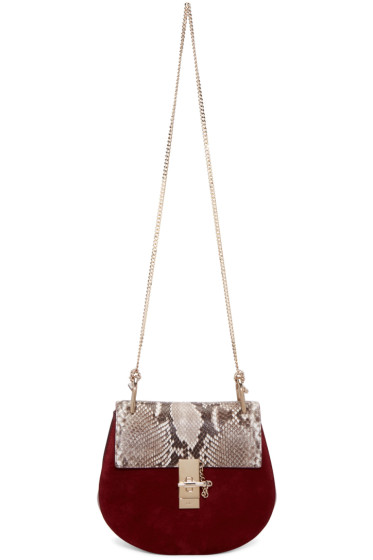 Chloé - Red Python Small Drew Saddle Bag