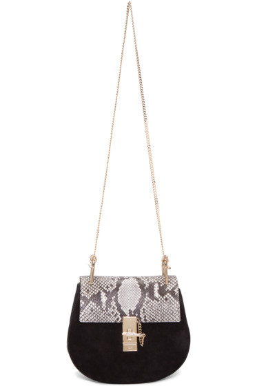 Chloé - Black Python Small Drew Saddle Bag