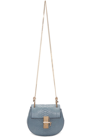 Chloé - Blue Python Mini Drew Saddle Bag