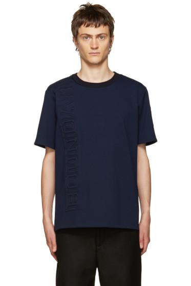 Juun.J - Navy Embossed Lettering T-Shirt