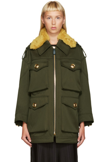 Burberry - Green Shearling Collar Jacket