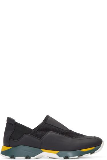 Marni - Black Felted Slip-On Sneakers