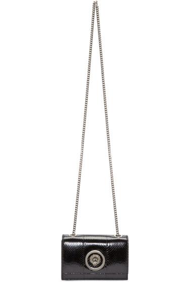 Versus - Black Python-Embossed Lion Medallion Bag