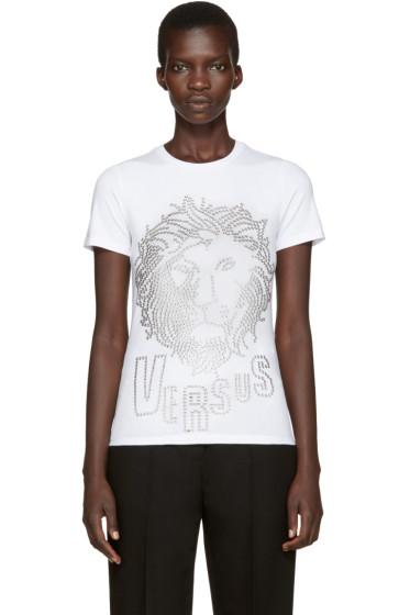 Versus - White Eyelet Lion T-Shirt