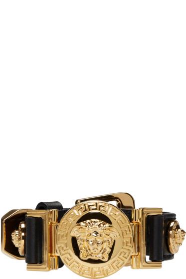 Versace - Black Leather Medusa Bracelet