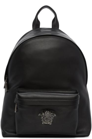 Versace - Black Leather Medusa Backpack