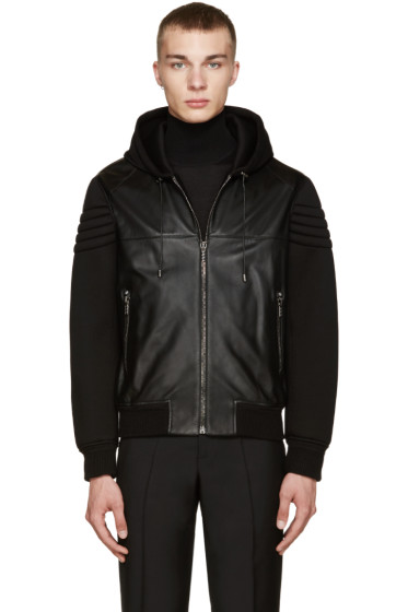 Versace - Black Leather & Neoprene Jacket