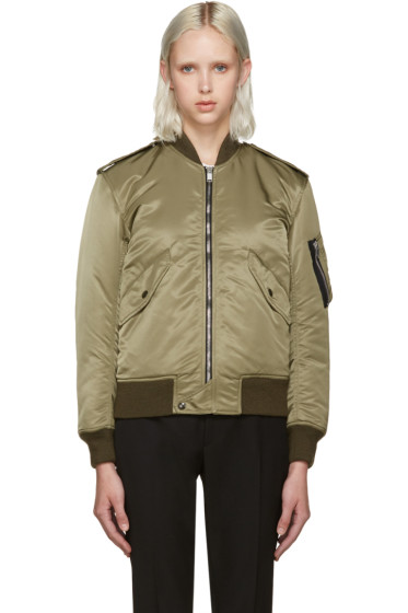 Saint Laurent - Green Nylon Bomber Jacket