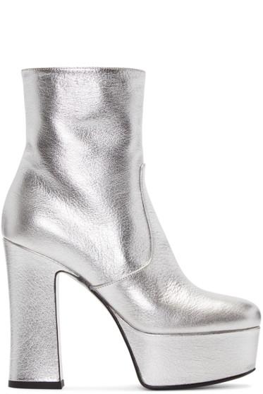 Saint Laurent - Silver Platform Candy Boots
