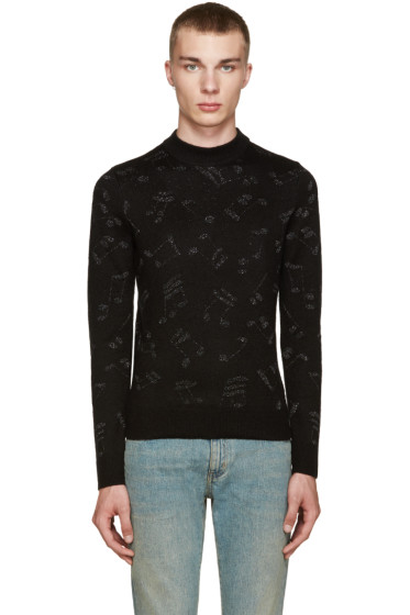 Saint Laurent - Black Calf-Hair Music Note Sweater