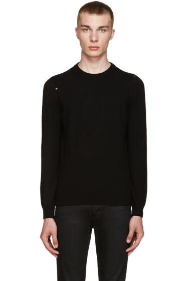 Saint Laurent - Black Grunge Destroyed Sweater