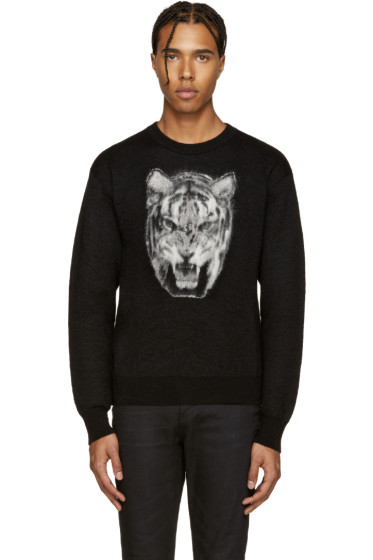 Saint Laurent - Black Calf-Hair Tiger Sweater