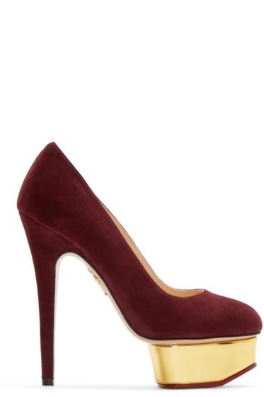 Charlotte Olympia - Purple Suede Platform Dolly Heels