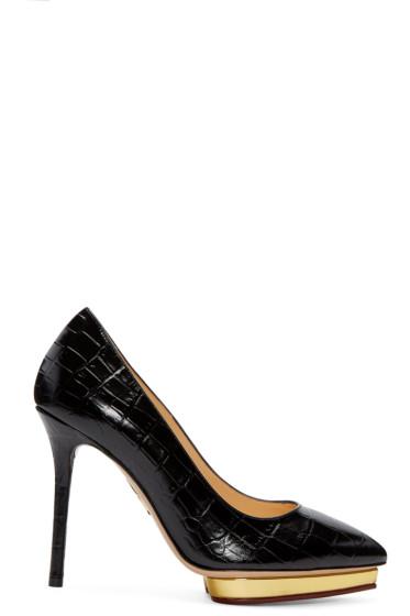 Charlotte Olympia - Black Croc-Embossed Debbie Heels