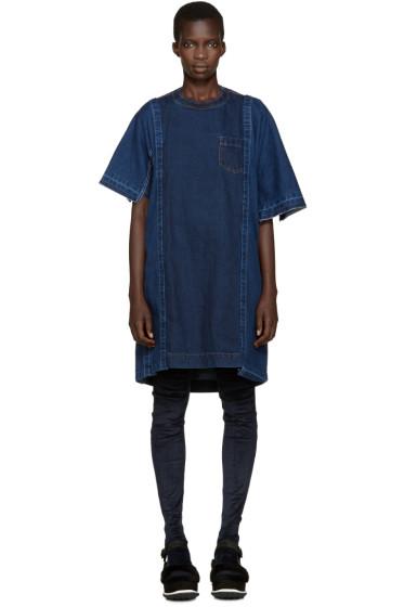 Sacai - Navy Denim Paneled Dress