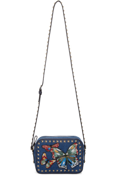 Valentino - Blue Denim Butterfly Rockstud Camera Bag