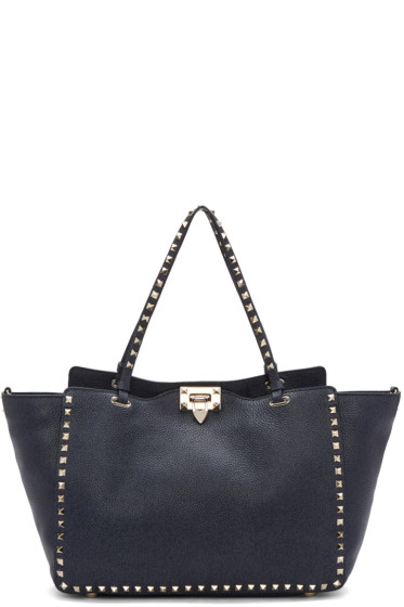 Valentino - Blue Medium Rockstud Tote