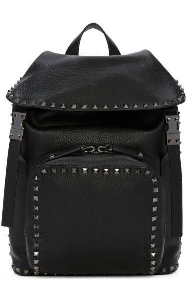 Valentino - Black Leather Rockstud Backpack