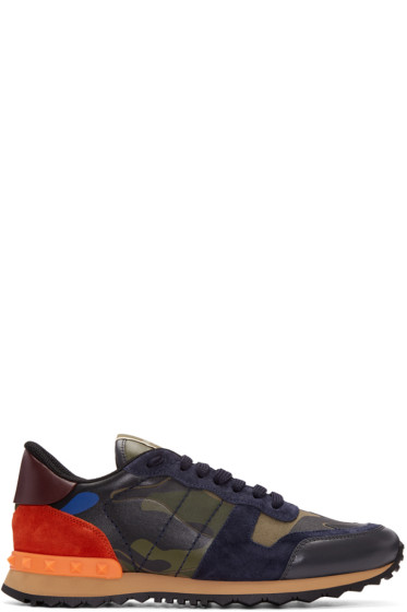 Valentino - Green Camo Rockrunner Sneakers