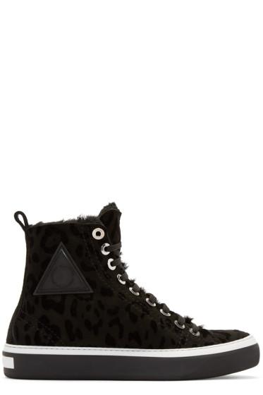 Jimmy Choo - Black Leopard Boris High-Top Sneakers