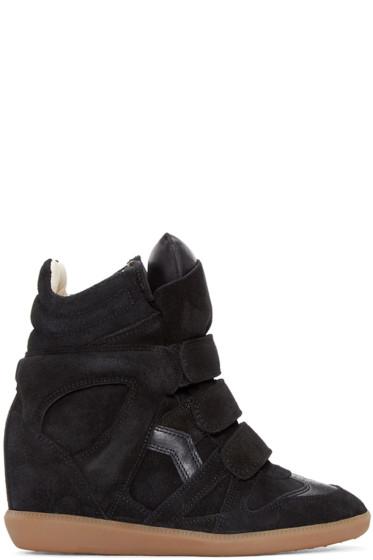 Isabel Marant - Black Suede Bekett Wedge Sneakers