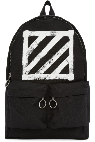 Off-White - Black Canvas Brushed Diagonals Backpack