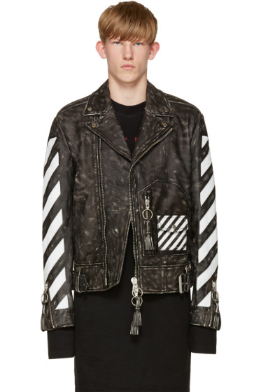 Off-White - Black & White Leather Biker Jacket