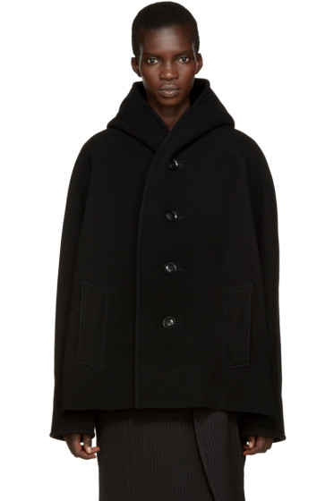 Y's - Black Wool U-Hood Coat