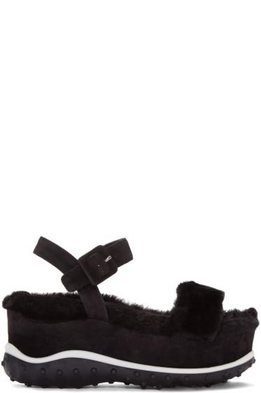 Miu Miu - Black Shearling Wedge Sandals