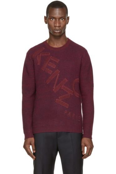 Kenzo - Burgundy & Navy Knit Logo Sweater