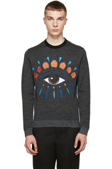 Kenzo - Grey Wool Embroidered Eye Sweater