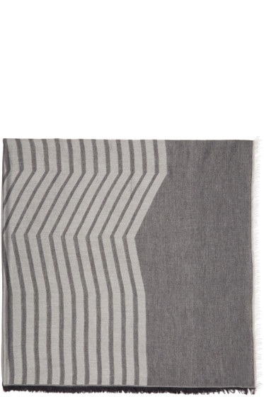Thamanyah - Indigo & Grey Striped Dune Scarf