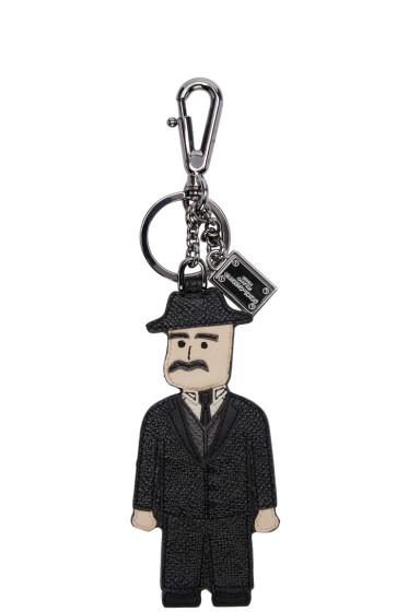 Dolce & Gabbana - Black Leather Sicilian Man Keychain
