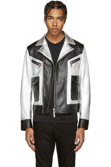 Dsquared2 - Black & Silver Leather Kiodo Biker Jacket